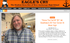 Screenshot of the Eagle's Cry website with a picture of Mr. Goudreau