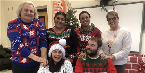 West high coffee crew in holiday sweaters
