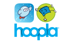 logos for Sora, Tumblebooks, and Hoopla