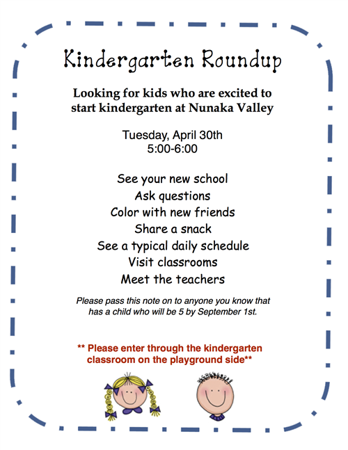 Kindergarten Round Up April 30