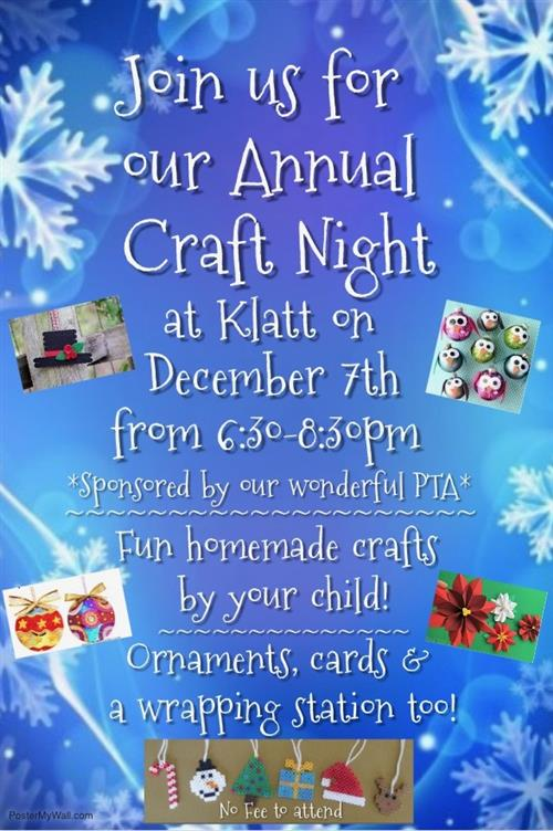 Holiday Craft Night: Friday, December 7th, 6:30-8:30pm
