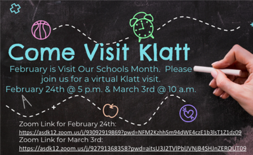 Visit our Schools Month: Please join us for a Virtual Klatt Visit, February 24th or March 3rd - Open for Zoom links!
