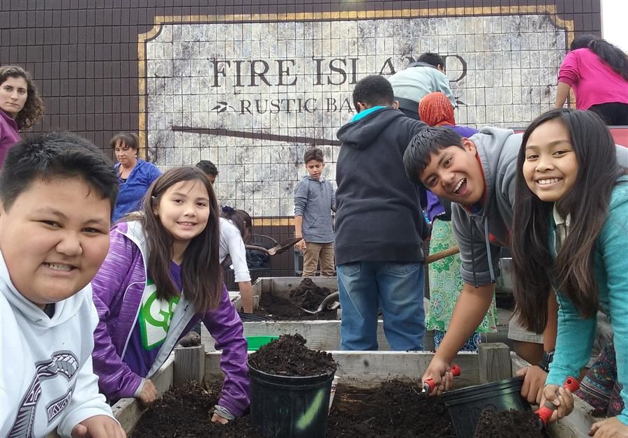 A group of students digging in a raised bed